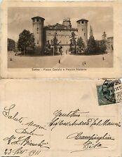 Torino, Piazza Castello e palazzo Madama, animata viaggiata 1911