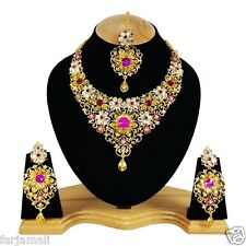 Gold Plated Partywear Zerconic Kundan Style Awesome Necklace Set Earrings TIkka