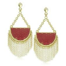 100% Authentic!! New With Pouch!! House of Harlow Crescent Earring in Red!