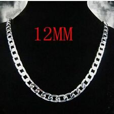 "12MM 925 Sterling Silver Plated Chain Necklace 18"" Men's husband father BF gift"