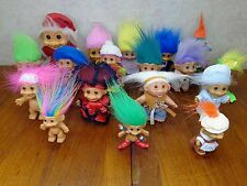 Lot of 18 TROLL Dolls Russ Ace Elf Skiing Santa Rainbow Hippie Tux Leprechaun VG