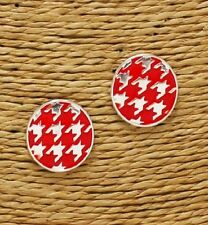 Red and Silver Houndstooth Post Earrings
