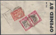 ADEN 1944 WARTIME CENSORED REGISTERED AIR MAIL ADEN CAMP COVER TO BOMBAY NEAT SH