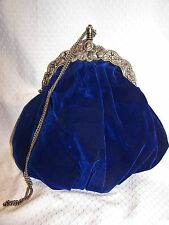ANTIQUE Carpet Bags of America BLUE VELVET Purse HANDBAG M.W.G. Roman Coin Frame