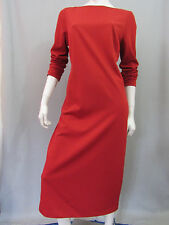 Talbots Dress Size 12 Red Long Sleeve Ponte Knit Long Mid Calf Modest Career