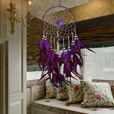 Handmade Dream Catcher with Feather Wall Hanging Decoration Ornament Purple Rose