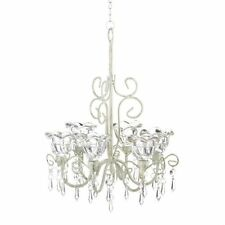 Chandelier Candle Holder Crystal Blooms Elegant Ceiling Decor Hallway Accent WOW