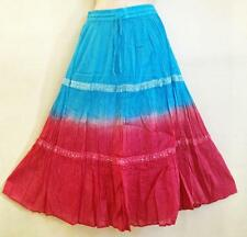 GROOVY Hippie Bohemian Gypsy Indian Ombre Dip Dyed Tier Festival Skirt Turq Pink