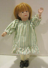 "Vintage 15.5"" Schoenhut jointed wooden doll, painted features - natural hair wig"
