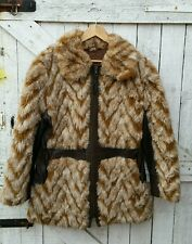 VINTAGE 70s Hippy Shaggy Faux Leather Fur Giacca cappotto 14
