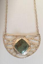 Barse Sterling Silver Hammered Design Genuine Green Jasper Pendant Necklace