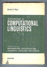 Introduction to Computational Linguistics - David G. Hays - Elsevier, Hardcover