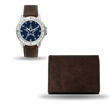 Dallas Cowboys Watch and Wallet Gift Set - NFL Brown Leather Stainless Steel
