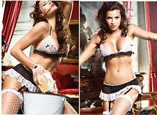 Donna Delle Pulizie Cosplay Set Nero Bianco Lingerie Donna Giarrettiera Sexy