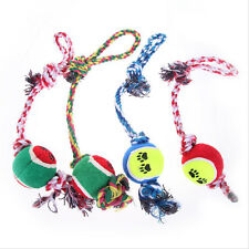 Fun Pet Chew Knot Toy Cotton Braided Bone Rope Tug Knot Ball Color Puppy Dog