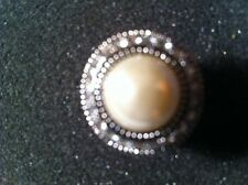 FANTASY WORLD JEWELRY SILVER & PEARL SURROUNDED BY CRYSTALS RING SIZE 6