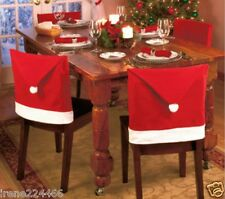Set/2 Felt Holiday Santa Claus Hat Chair Back Covers w/pom pom 20x27 NIP