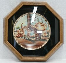 "Knowles 1991 Fine China Plate "" Teatime Tabbies "" In Frame With Papers"