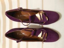 FIORE COLLECTION Purple & Gold Suede Heeled Shoes (UK Ladies Size 6)
