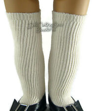 Cream Ribbed Thigh High Socks made for Colonial Era American Girl Doll Clothes