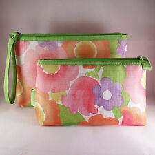 New! Clinique Cosmetic Makeup Bag Set Zipper Pouch  (1 Large + 1 Small)