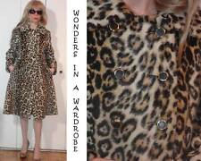 SAFARI by SPORTOWNE LA FRANCE Leopard FAUX-FUR waisted COAT military button XS S