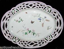 Emile Gallé Nancy, superbe plat en faïence ouvragé Art Nouveau, insectes