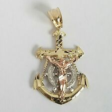 14k  Gold Jesus Crucifix Anchor Pendant charm 1.25 inch long 3 tone