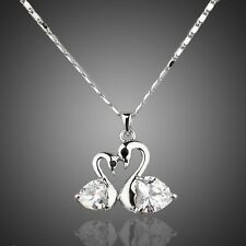 Sparkly Shiny Clear White Genuine Zircon Swan Love Necklace Pendant Jewellery