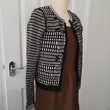 Karen millen Quilt Texture Zip Up cardigan black/white size XS UK 1 (6/8)