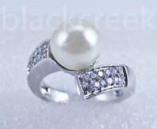 925 Sterling Silver~ Lady's pearl Ring~ White C.Z  Micro Setting~ Size 8