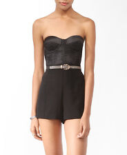 Forever 21 H/M Black Satin Sweetheart Lace Strapless Crop Top Bustier Size XS