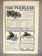 Peerless Motor Car & Buffalo Stanhope & National Electric Vehicle PRINT AD  1903