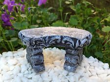 Miniature Dollhouse FAIRY GARDEN Furniture ~ Gray Stone-Look Curved Bench ~ NEW