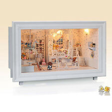 DIY Wooden Dollhouse Miniature Kit w/ 4pcs LED Light&Music Box /Dust Cover