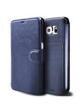 Samsung Galaxy S6 Mobile Phone Flip Case Faux Leather Cover Navy Blue New Boxed
