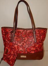 Liz Claiborne New York Paisley Print Tote Bag Red Paisley