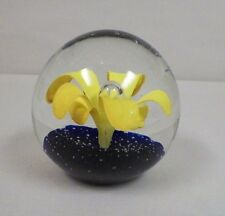 MURANO ITALY CLEAR WITH YELLOW FLOWERS ART GLASS PAPERWEIGHT FROM ESTATE COLLECT