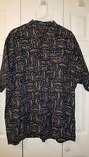 Timberland Men's Trout Fish Camp Shirt Short Sleeve Navy Blue & Tan Size XL