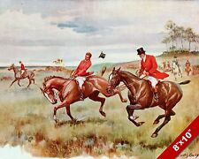 HORSE & RIDER STRUGGLING FOX HUNT EQUESTRIAN HUNTING ART PAINTING CANVAS PRINT
