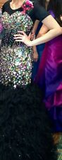 BLACK ALYCE MULTICOLORED STONES PAGEANT PROM TULLE FEATHERS DRESS GOWN SIZE 8