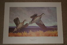 """Roger Preuss Lithograph """"Sharp-tailed Grouse"""" Full size beautiful print! REDUCED"""