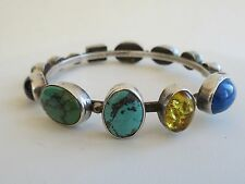 Wonderful classic Navajo Nakai Bangle bracelet multi stone opal  lapis turquoise
