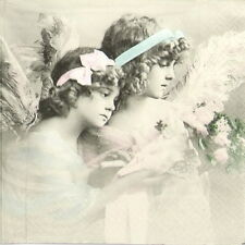 4x Single Party Paper Napkins for Decoupage Decopatch Craft Vintage Two Angels