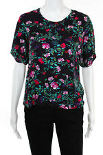 Mary Katrantzou For Topshop Purple Floral Print Short Sleeve Knit Top Size 2