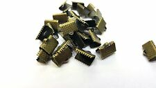50 pieces 10x6mm Bronze Plated Folding Crimps Connectors - A6702