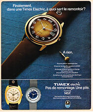 PUBLICITE ADVERTISING 104  1975  TIMEX ELECTRIC  Montre  pas de remontage