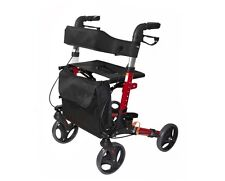 AdirMed Red Euro Style Folding Rollator Walker Four Wheel Drive