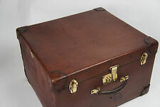 Vintage Canvas Leather Cornered Trunk Square Hatbox Brass Fittings