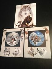 "3- 8 x 10"" Native American Collage & Wolf Picture Prints in Lithograph Dealer"